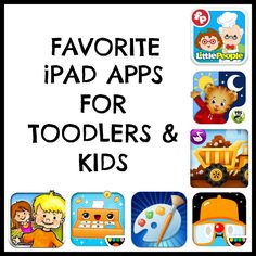 Favorite iPad apps for toddlers and kids! Love these! My kids have learned so much from apps!