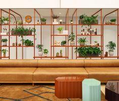 Teal Color Schemes, Teal Colors, Cafe Design, Interior Design, Reception Desk Design, Office Reception, Commercial Office Design, Modular Lounges, Experience Center