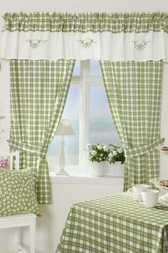 Pretty checks at a kitchen window. Kitchen Window Curtains, Home Curtains, Home Decor Furniture, Diy Home Decor, Room Decor, Cortinas Country, Bed Cover Design, Rideaux Design, Vintage House Plans