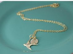 Gold Filled Sparrow with Hand Stamped Initial by JetSilverBeads, $27.50