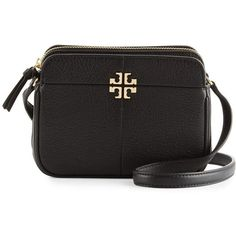 Tory Burch Ivy Micro Leather Crossbody Bag ($275) ❤ liked on Polyvore featuring bags, handbags, shoulder bags, black, tory burch crossbody, genuine leather purse, genuine leather shoulder bag, leather cross body handbags and leather crossbody