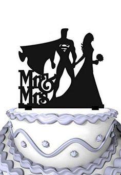Meijiafei Bride and Superman with Script Mr&Mrs Custom Rustic Wedding Cake Topper