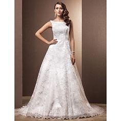 Ball Gown Scoop Chapel Train Lace Wedding Dress – EUR € 121.68