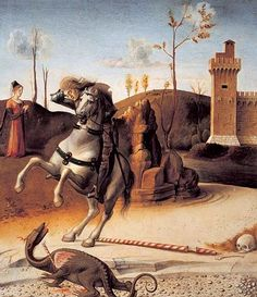 Bellini, Giovanni (b,1430)- St George Murdering Pathetic Dragon {Duplicate Variation Below- this is lighter, more yellow than brown}