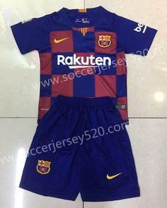 2019-20 Barcelona Home Red and Blue Kid Youth Soccer Uniform-SKE f76e0d844