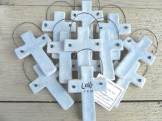 Personalized Cross Baptism Favors Set of 12 Christening / Easter Napkin Rings Salt Dough Ornaments
