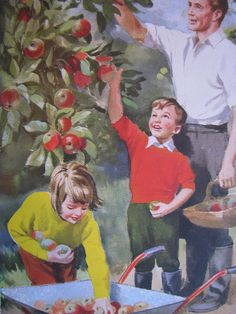 Picking Apples, Ladybird - I loved these books as a kid, especially the illustrations Vintage Images, Vintage Art, Ladybird Books, Ladybird Images, Book Images, Decoupage, Vintage Children, Historical Photos, Illustrations Posters