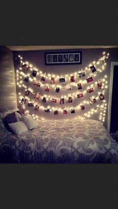 OMG this look so cute and lovely. I'm a huge fan of fairy lights and tiny square photos.