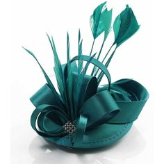 Wholesale Teal Mesh Hat Feather Fascinator On Clip ($7.47) ❤ liked on Polyvore featuring accessories, hair accessories, hats, hair band accessories, head wrap headband, feather fascinator, feather hair comb and comb headband
