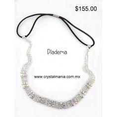 Diadema para cabello en color plateado con cristales en tono tornasol estilo 23013