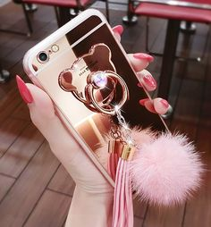 iPhone 7 Plus / 8 Plus Case, Luxury Fur Ball Soft Rubber Bumper Bling Diamond Glitter Mirror Makeup Case with Bear Ring Stand Holder for Girls (Pink, iPhone 7 Plus / 8 Plus)