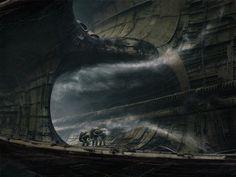 Futuristic/Alien landscape by Alex Kozhanov, definitely heavily influenced by HR Giger