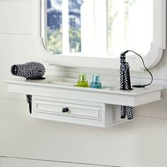 vanity with straightner storage