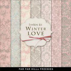Freebies Kit of Backgrounds - Winter Love