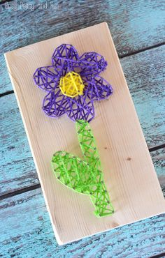 Flower String Art for kids to try!