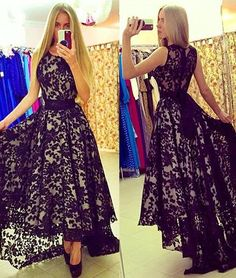 cute round neck lace high-low black prom dress for teens, black evening dress