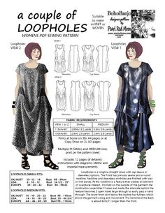 A couple of Loopholes, womens PDF sewing pattern by pearlredmoon on Etsy
