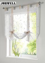 Cortina romana Europea bordado estilo tie up ventana cortina cortina de la cocina cortina escarpada voile tab top marca ventana cortinas(China (Mainland))