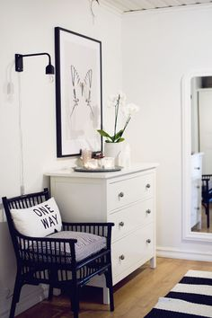 "my white furniture can be mix with new black stuff and industrial/masculine lamps to cut the ""girly"""