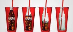 """La sustracción parcial del vaso nos da una perfecta sensación de complicidad con el cliente """"consumidor"""" de Coca Cola"""