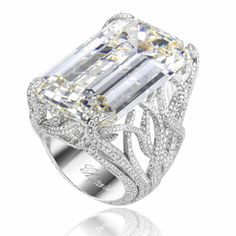 18k white gold and diamond ring with emerald-cut center stone, Chopard