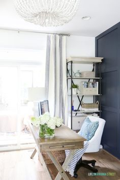 modern farmhouse home office with blue walls, navy wainscotting and farmhouse desk wiht upholstered desk chair, bookcases in home office decor, cottage home office ideas, traditional home office Office Office, White Office, Home Office Space, Office Walls, Home Office Design, Home Office Decor, Home Decor, Office Ideas, Office Chairs