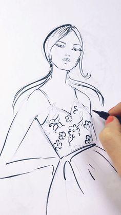 Fashion illustration class by Elena Fay, fun art tutorials Fashion Drawing Tutorial, Fashion Figure Drawing, Fashion Illustration Tutorial, Fashion Drawing Dresses, Fashion Illustration Dresses, Drawing Fashion, Fashion Model Sketch, Dress Design Sketches, Fashion Design Sketchbook