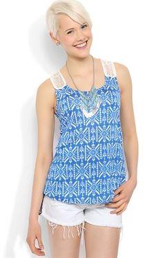 Deb Shops #Tribal print rayon #tank with white crochet back patch $14.92