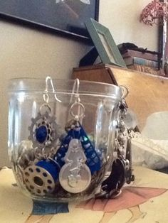 Upcycled Earrings Tardis Blue On Sterling Silver Wrapped Ear Wires