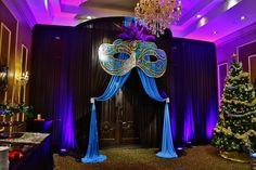 special event entrance drapery with a mask centerpiece Masquerade Cakes, Masquerade Party Decorations, Masquerade Ball Party, Sweet 16 Masquerade, Masquerade Theme, Masquerade Wedding, Prom Decor, Mardi Gras Decorations, Venetian Masquerade