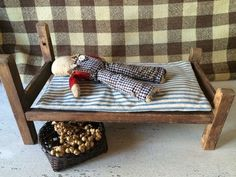 Early Primitive Old Child's Make Do Doll Bed with Ticking Mattress