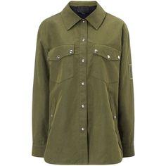 Alexander Wang Khaki Canvas Military Shirt Jacket ($735) ❤ liked on Polyvore featuring outerwear, jackets, green, studded jacket, flap jacket, military fashion, green jacket and pocket jacket