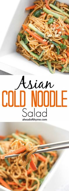 Asian Cold Noodle Salad: Nothing screams summer more than a crispy, crunchy, Asian cold noodle salad infused with a refreshing peanut, cilantro and lime dressing.   aheadofthyme.com via @aheadofthyme