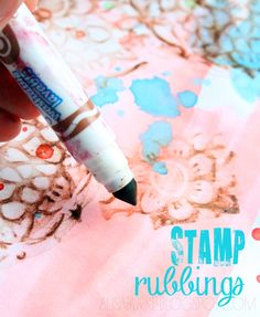 stamp rubbings--such an innovative way to add texture and layers to a page!