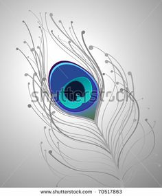 illustration with gray and blue peacock feather by dotted red bug, via Shutterstock