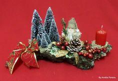 Centro de mesa para Natal base em pedra vulcânica da Ilha Terceira https://www.facebook.com/Ancoracor/