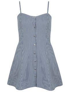 Ticking Stripe Denim Dress