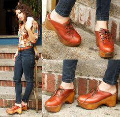 Check out these awesome vintage clogs I found on sale at a local vintage shop the other day! Loving the delicious color and chunky wooden platform. The fact that they lace-up and have the old school Zodiac toe plate is a rare find. Truly in love. Decided to pair them with skinnies and one of my fav 70's poly shirts.   What do you think of the new shoes?!?!