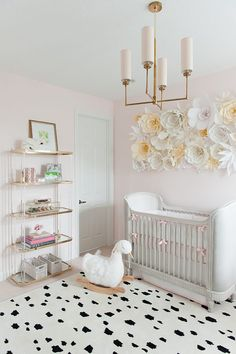 Kate Spade inspired nursery baby girl room decor with white and black polka dot rug yellow and white flower wall decor brass chandelier white crib and white goose rocking horse Baby Bedroom, Baby Room Decor, Nursery Room, Girl Nursery, Girl Room, Girls Bedroom, Wall Decor, Wall Art, Light Pink Nursery Walls