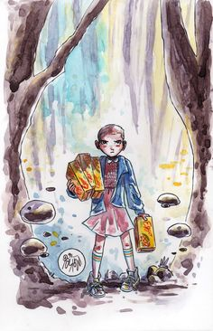 Watercolor: Eleven by mikemaihack. Stranger Things fan art.