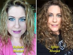 My naturally curly hair!!!! My Monat before & after photo. I had to see for myself. Now I get paid to wash my hair and help people get healthier more beautiful hair. Monat guarantees thicker, fuller, stronger, longer hair. Try it for 30 days and you will see and feel the difference.