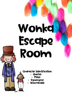 Charlie and the Chocolate Factory Activity: Escape Room Charlie And The Chocolate Factory Crafts, Wonka Chocolate Factory, Escape Room, Classroom Themes, Classroom Activities, Unscramble Words, Chocolates, 3rd Grade Reading, Willy Wonka