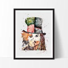Johnny Depp Johny Depp, Louvre, Jack Sparrow, Pirates Of The Caribbean, Nursery Art, Alice In Wonderland, Disney, Watercolor Art, Wall Art Prints