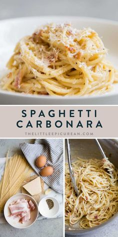 Traditional spaghetti carbonara is made from egg, hard cheese, and guanciale. There are numerous variations on this classic Roman pasta dish. Pasta Recipes, Cooking Recipes, Healthy Recipes, Salad Recipes, Pasta Facil, Creamy Carbonara Pasta, Chicken Carbonara Pasta, Easy Spaghetti Carbonara, Linguine