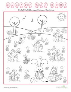 Color An Easter Egg Hunt WorksheetsEaster PrintablesPreschool