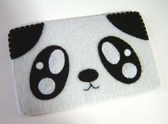 """iPhone Case - Cell Phone Case - iPhone 4 Case - iPod Case - iPod Touch Case - Handmade iPhone Felt Case - """" Panda"""" Design."""