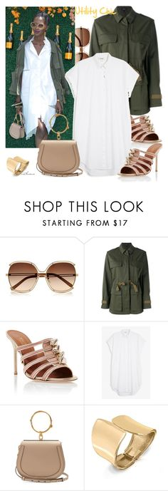 """""""Off Duty Model: Utility Chic"""" by arethaman ❤ liked on Polyvore featuring Theory, Malone Souliers, Monki, Chloé, Bling Jewelry, shirtdress, utilityjacket, modelstyle, oversizedglasses and chloenile"""