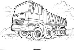 Mercedes Dump Truck Printable Coloring Page