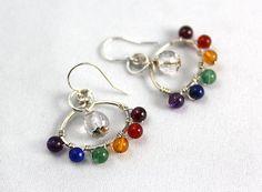 Gemstone Chakra Earrings, Sterling Silver, Flower Earrings, Healing Jewelry, Yoga Jewelry, Yoga Style, Gemstone Earrings, Rainbow Earrings
