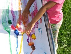 Slide painting with ice!
